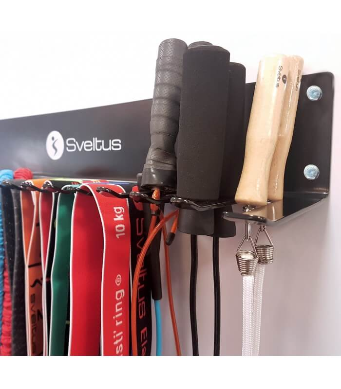 Rack for skipping ropes and elastics